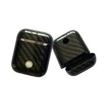 Углерода волокно беспроводной наушники чехол для Apple AirPods bluetooth Air Pod Углерода защитный кожух