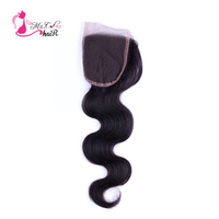 Ms Cat Hair Brazilian Body Wave Lace Closure 4 X4 100 Human Hair Natural Black Free