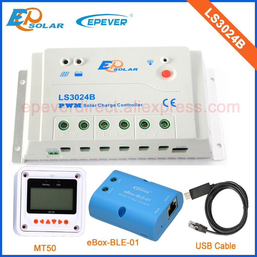 Mini Solar controller 30A PWM LandStar series LS3024B with USB cable and bluetooth function Meter MT50 EPEVER epsolar pwm 30a regulator solar battery ls3024b with mt50 remote meter usb cable and bluetooth function
