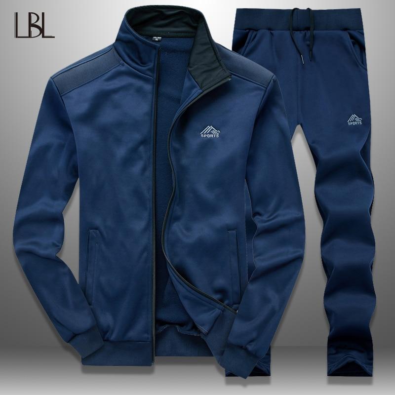 LBL Men Tracksuit Set Slim Spring 2019 Sportswear Mens Sweatsuits Outwear Jacket Sweatpants Two Piece Sets Hombre Track Suit Man