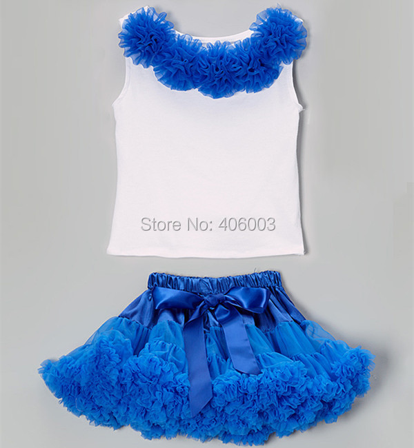 free shipping baby bright blue pettiskirt skirt tutu white top rose set baby girls tutu pettiskirt clothes set юбка blue shells cosplay pettiskirt tutu lolita