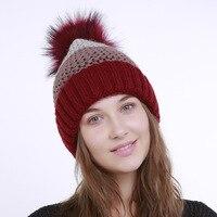 Femmes à la mode D'hiver Bonnet Chapeau Femelle Tricoté Chapeau Occasionnel Bonnets Pour Les Femmes Chapeau De Fourrure Caps Skullies Bonnet