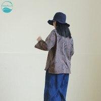 LinenAll оригинальные женские завод облако окрашенные ретро тон текстурированные 100% хлопок Длинные рукава с круглым вырезом свободные футболк