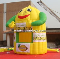 Free Shipping Smiling Face With Arm Inflatable Lemonade Booth With Digital Printing Banners Free Blower