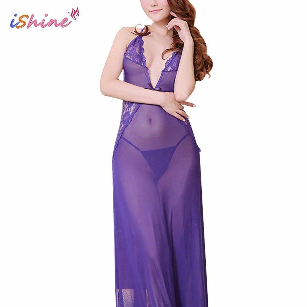IShine Черный Фиолетовый Sexy Долго Туалетный Ночная рубашка Sheer Прозрачный Вечернее Платье Ночная Рубашка Ночная Сорочка Пижамы Белье для Женщин