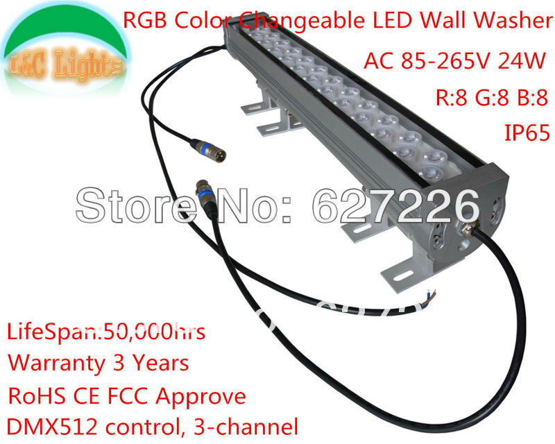 AC85-265V 500MM 24W IP65 RGB Color Changeable LED Wall Washer,DMX512 Colorful Wall Lamps,RoHS CE FCC Approve,Warranty 3 Years 24v 100 cm linear bar 60w rgb led wall washer light fcc saa ce