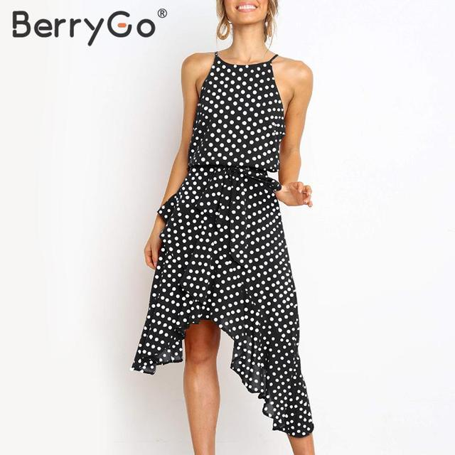 c2838a049bc BerryGo Elegant polka dot print summer dress women Halter asymmetrical  ruffle chiffon female dresses Holiday beach vestidos 2019