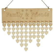 Wood Calendar Hanging Birthday Reminder DIY Board Birch Ply Plaque Sign Family & Friends Gift Drop Shipping YH-461161 wooden special days to remember family and friends calendar birthday diy wall hanging sign decoration gift reminder board signs