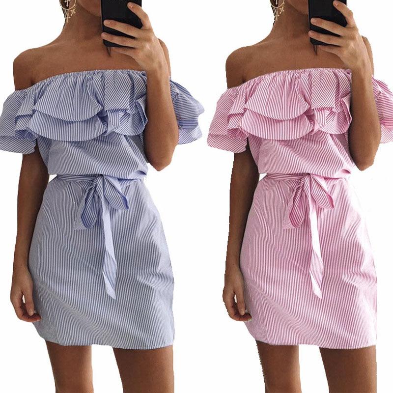 Beiläufiges Sommerkleid Frauen 2018 Rosa Blau Schulterfrei Gestreiftes Damenhemd Mini Sexy Strand Sommerkleid Kurzarbeit Röhrentunika