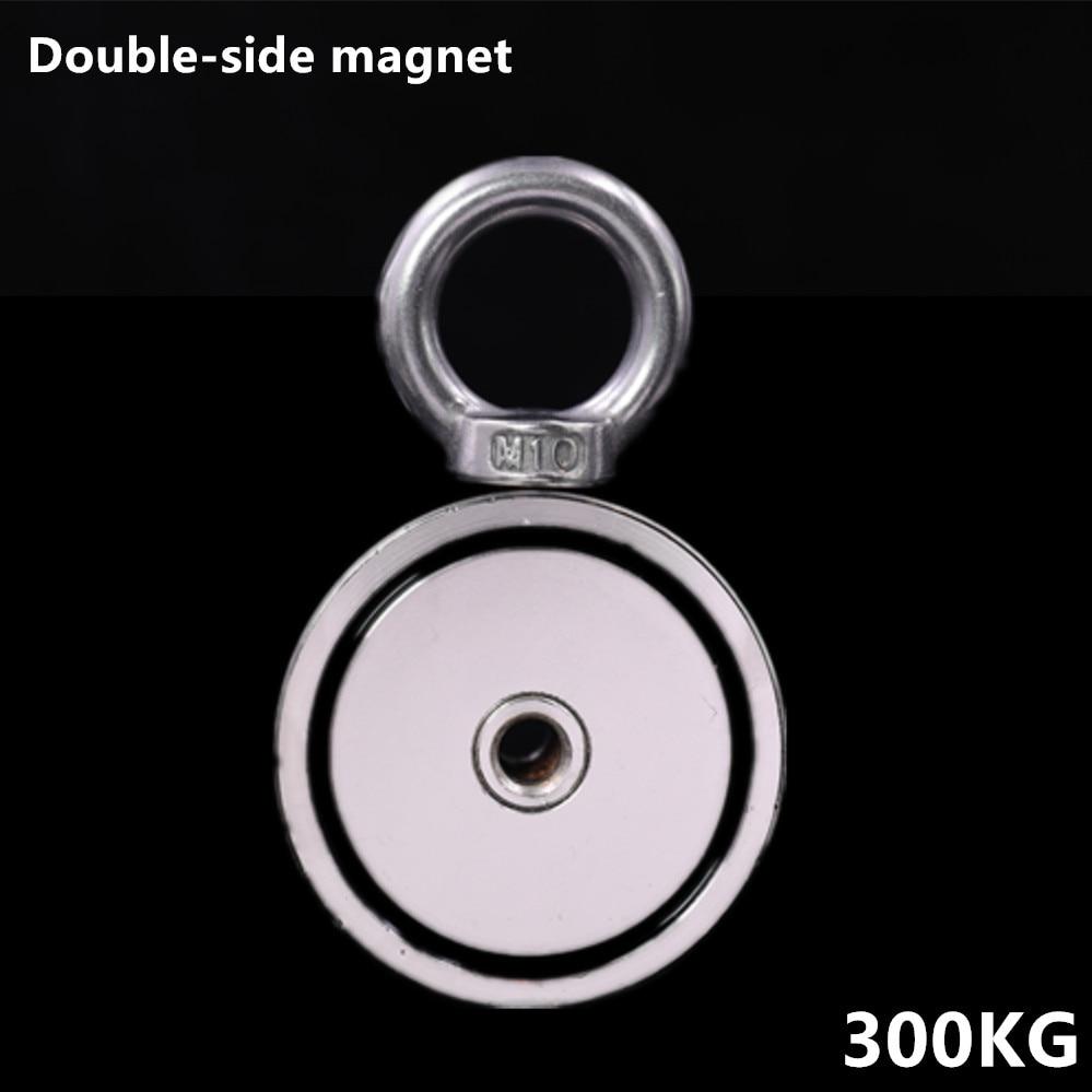 Néodyme Aimant 300 KG Forte Double côté de Récupération De Pêche crochet magnétique 74*28mm Tirant De Montage Pot avec anneau trou matériel mer