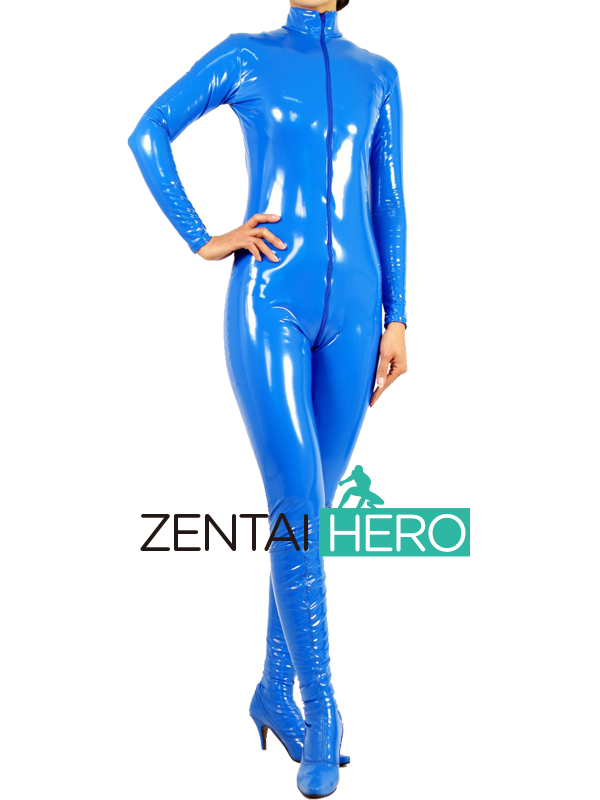 Free Shipping DHL Custom Made NEW Sexy Blue PVC Zentai Catsuit Fancy Dress Zentai Suit For Halloween Party Front Zipper AXM41