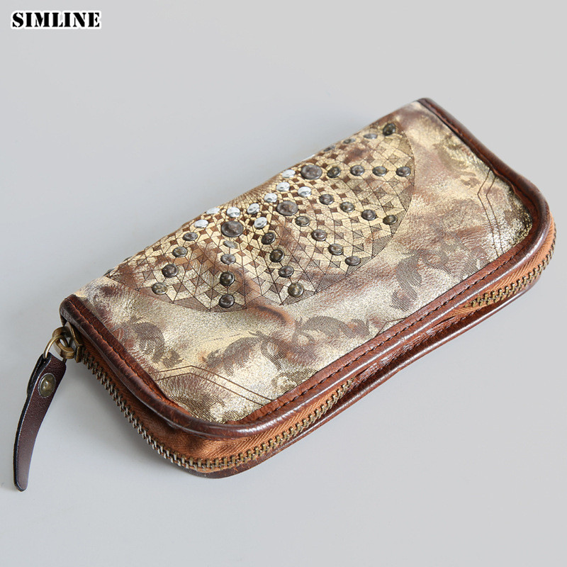 купить SIMLINE Genuine Leather Men Wallet Men's Luxury Brand Vintage Long Zipper Wallets Purse Card Holder Clutch Bag Male Clutches недорого