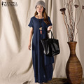 Vestidos 2016 Summer ZANZEA Mujeres Vintage Cotton Linen Maxi Largo vestido Flojo Ocasional Del Cuello de O de Manga Corta Vestido Sólido Más tamaño