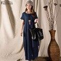 Vestidos 2017 Лето ZANZEA Женщины Урожай Хлопка Белье Долго Макси Dress Casual Свободный О Шея С Коротким Рукавом Твердого Dress Плюс размер