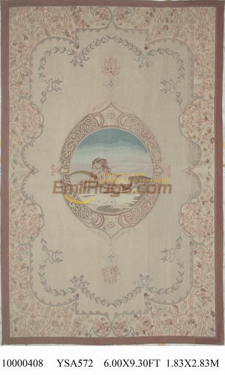 Tapis rond rose tapis laine tapis français aubusson 183 CM X 284 CM 6'X 9.3 'gc88aubYSA572 grand tapis rose Beige