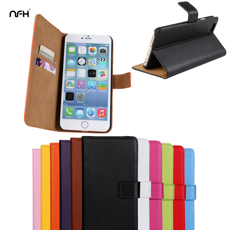 Leather Celular cover case For Apple iPhone 4S 5S SE 6S 7plsu Flip Wallet Cover+Card Holder Case5 6 7 plus Silicon Back Cover ...