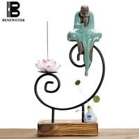Chinese Vintage Ceramic Zen Buddha Figurines Wooden Base Decoration Aroma Stick Incense Burner Censer with Vase Home Ornament