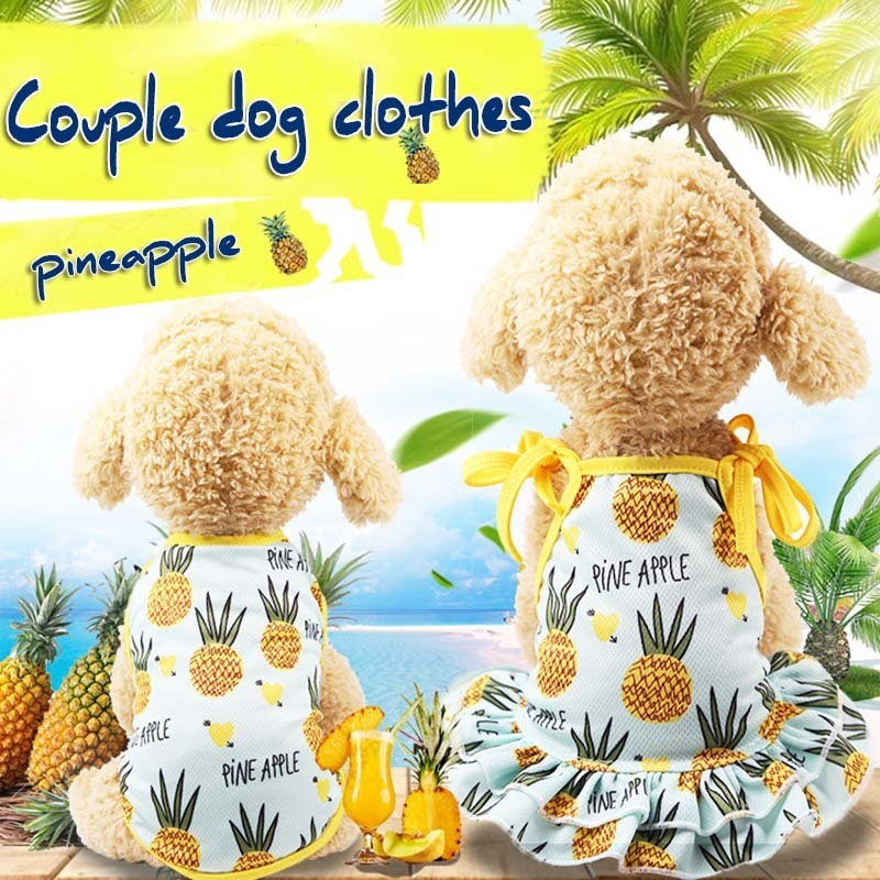KIMHOME PET Cheap Small Dog Clothes Pineapple Couple Dog Clothes Dog Shirt Cute Yorkshire Terrier Tshirt Breathable Pet Vest