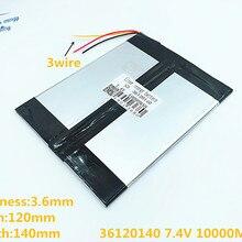3 линии 7,4 В 36120140 10000 мАч(полимерный литий-ионный аккумулятор) большой 9,7 дюймового планшета компьютерные батареи 10,1 панели S7/S9 и A1