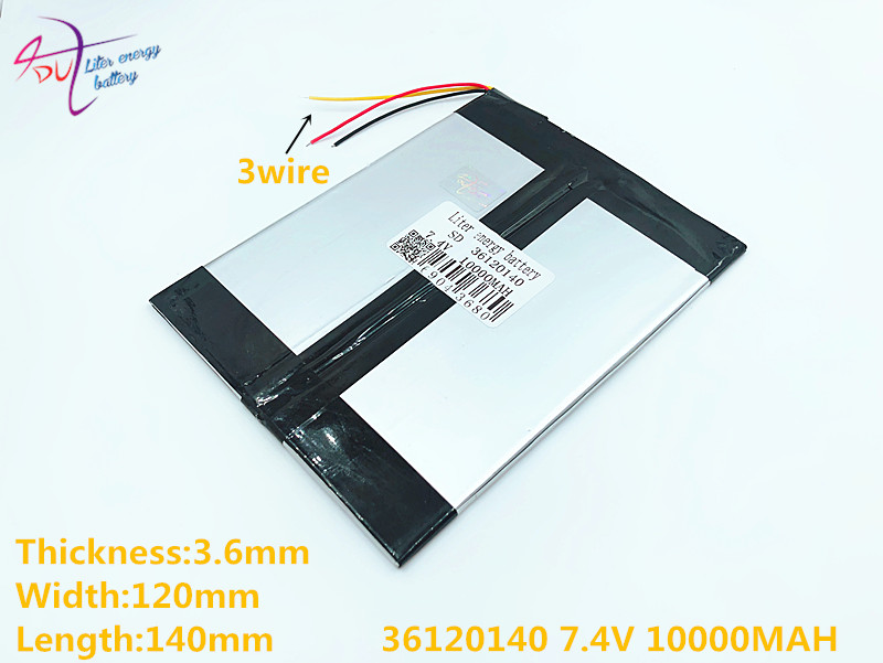 3 Line 7.4V 36120140 10000MAH (polymer Lithium Ion Battery) Large 9.7 -inch Tablet Computer Batteries 10.1 Panels S7 / S9 And A1