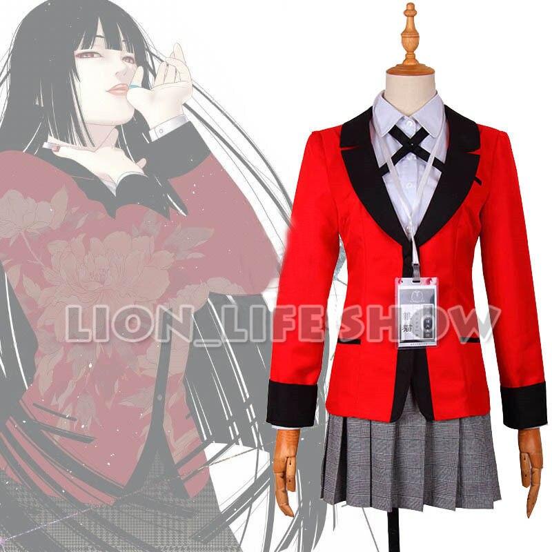 Kakegurui Cosplay Costume Momobami Kirari School Uniforms Red Coat White Shirt