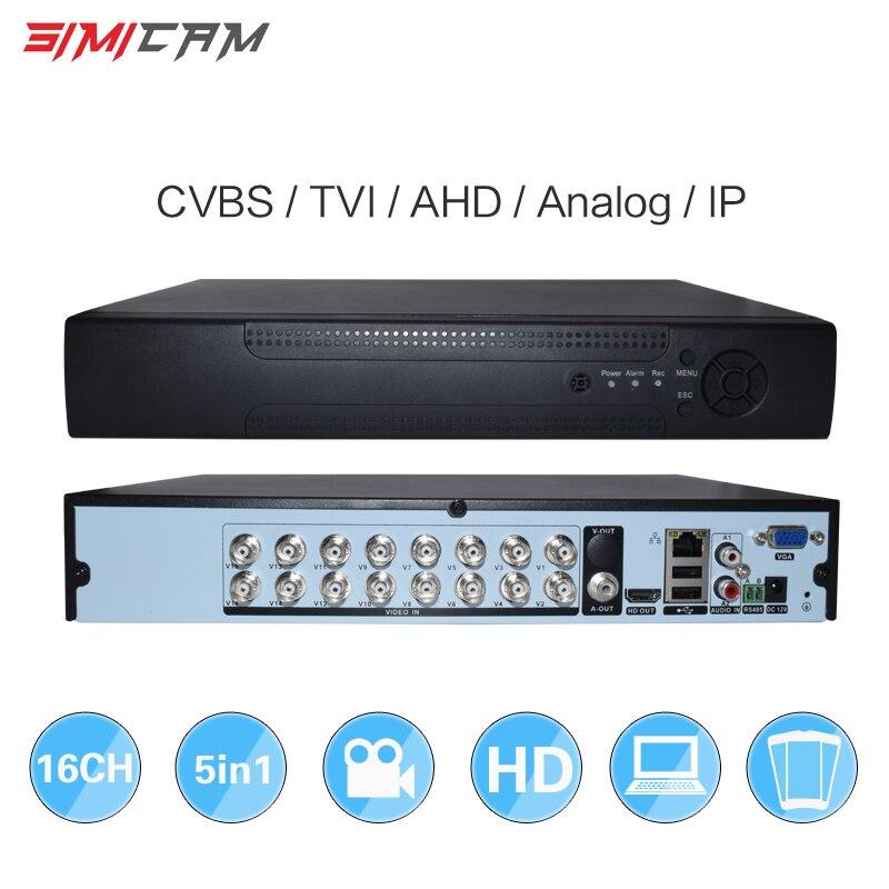 16CH 5in1 AHD DVR Поддержка CVBS TVI AHD аналоговые ip-камеры HD P2P H.264 VGA HDMI 2 жесткий диск бит видео Регистраторы RS485 аудио