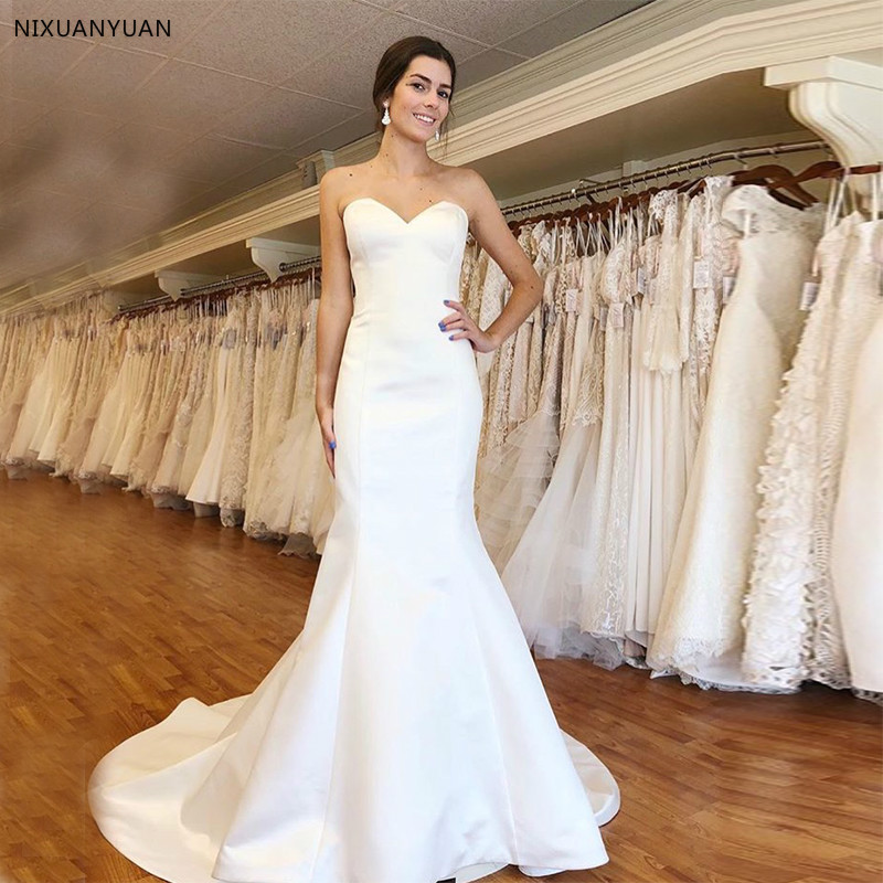 Simple Satin Wedding Dresses Sweetheart Neckline Mermaid Style Vestido De Novia 2020 Cheap Custom Made Bridal Dress Lace Up Back