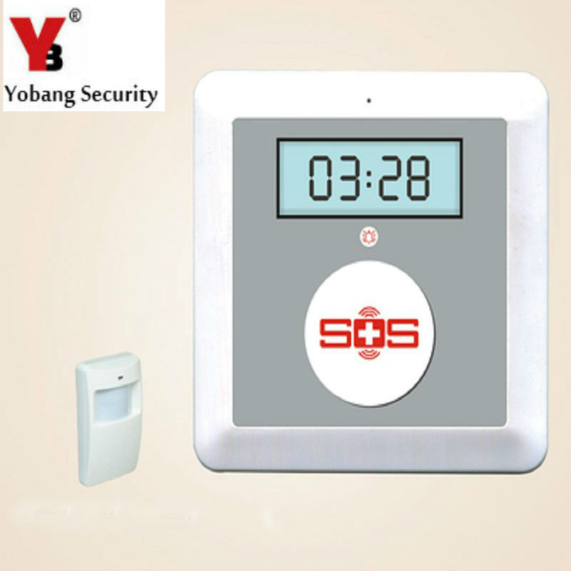 YobangSecurity Battery Powered 433MHz Home Safety K4 Wireless GSM Elderly Alarm System with Emergency Call Button PIR Detector wireless pager system 433 92mhz wireless restaurant table buzzer with monitor and watch receiver 3 display 42 call button