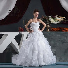 Wedding Dress 2016 SoDigne New Fashion Ruffles A Line Strapless Flower Pleats Bridal Gown Vintage Inspired