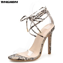 TINGHON Sexy Gladiator Sandals PVC Cross Bandage High Heels Sandals Women Thin Heel Lace-Up Summer Shoes Fashion Open Toe Pumps