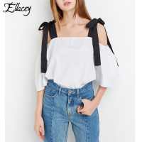 Ellacey 2017 Summer Women T Shirts Slash Neck Bowknot Sling Top Lace Up Tee Tops Sexy