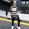 Girls clothing sets new girls spring harlan round collar letters stripe T-shirt +  child haroun pants suit children unisex sets
