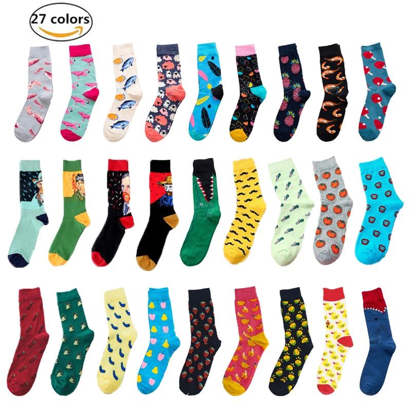 Socks   summer sweat-proof breathable deodorant sports cotton   socks   men's casual fashion happy   socks   retro Harajuku street   socks