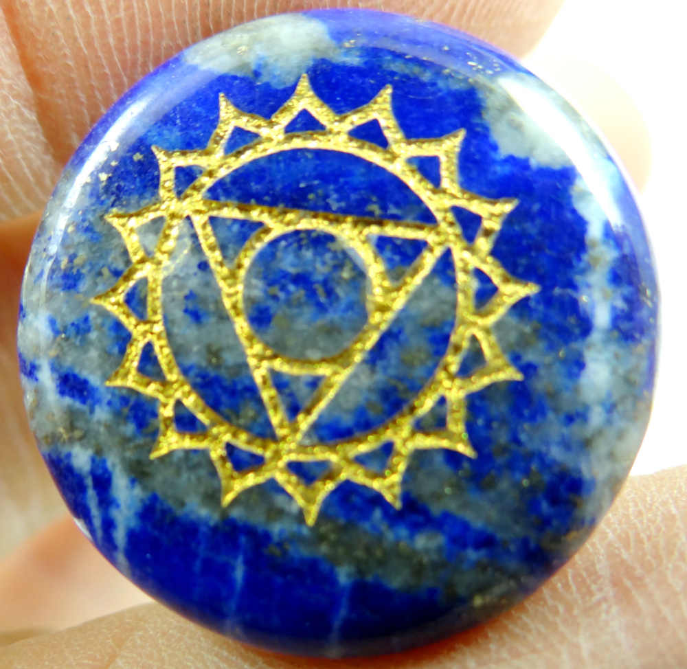 Natural Stone carved Chakra Pendant Round Shape purple Crystal Quartz lapis Choker Reiki 7 Chakra Stone Pendant Necklace no hole