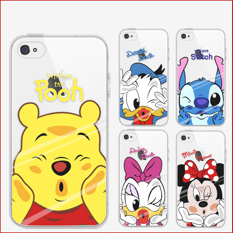 Phone Case For Iphone 4/4s/5/5S/6/6S/6 Plus/6s Plus Cute Cartoon Characters High Quality Painted TPU Soft Case Drop Shipping