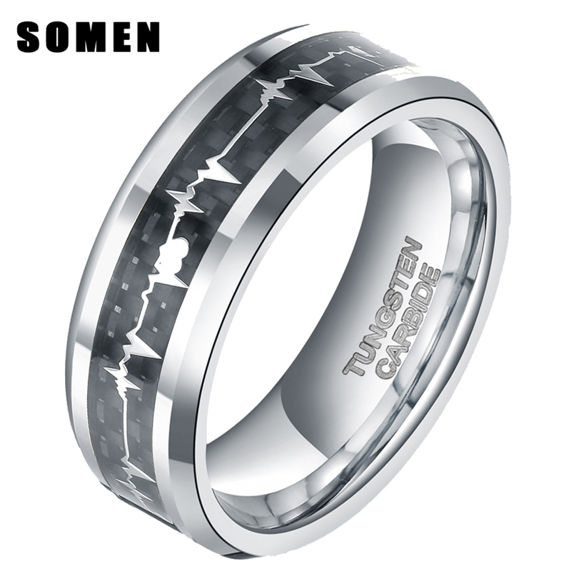 8mm Carbon Fiber Inlay Heartbeat Cardiogram Man's Tungsten Carbide Ring Couple Jewelry Men Rings Wedding Band anel masculino