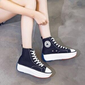 Image 5 - キャンバスシューズ女性のファッショントレーナー女性高トップスニーカー女性秋の女性の靴通気性少女の白黒スニーカー