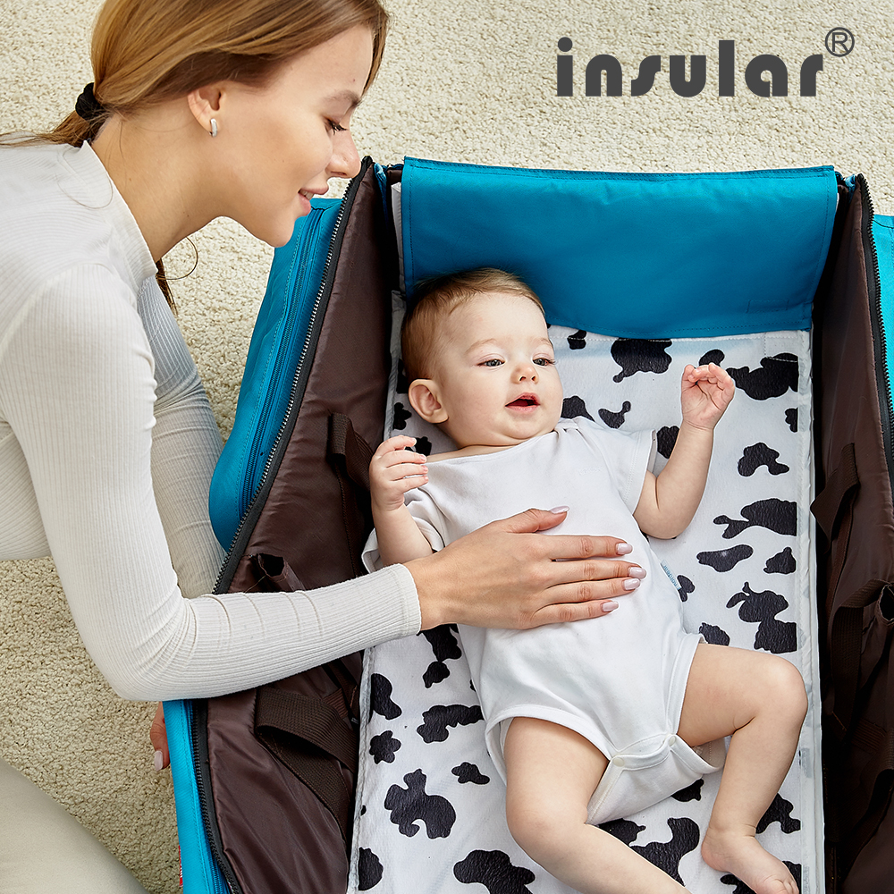 Portable Travel Baby Diaper Bag Foldable Baby Cribs Bed Mommy Bag Multi-function Mummy Shoulder Bag Nappy Waterproof Nursing Bag