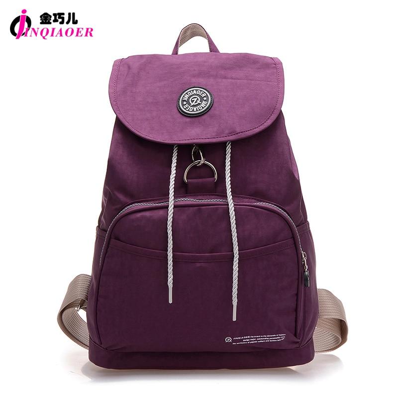 JINQIAOER Brand Nylon Backpack Waterproof Women Knapsack Drawstring String Backpack Girl Student School Bag For Laptop