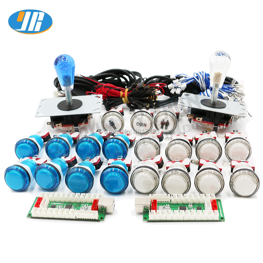 PC/ Raspberry Pi /PS2 /PS3 4 In 1 USB Encoder Arcade Joystick Kit Happ Joystick 5V LED Illuminated Push Button For MAME