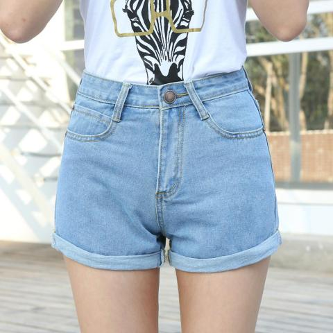 High Waist Denim Shorts Size XL Female Short Jeans for Women 2016 Summer Ladies Hot Shorts solid crimping denim shorts Lahore