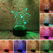 Hot Pokemon Go Action Figure 3D Atmosphere Illusion Night Light Pikachu Bedroom Kids Gift Creative 3D illusion Lamp Drop Shippng(China)