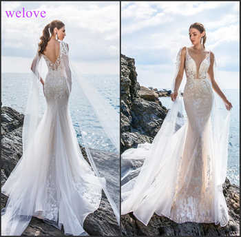 Robe de mariee New arrival 2019 Summer Beach Wedding Dress with Straps White Open Back Mermaid Wedding Dresses Vestige De Noiva - DISCOUNT ITEM  20% OFF All Category