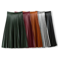 Women Vintage Accordion Long Leather Skirt Pleated High Waist Pu Leather Midi Skirts Olive Green Brown Burgundy Black Silver