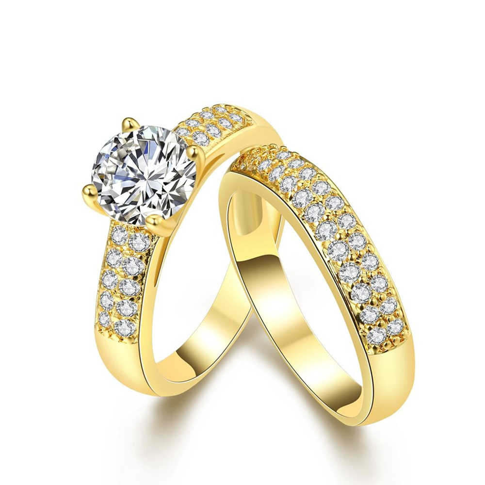 2Pcs Stackable Promise Gold Color Wedding Luxury Cubic Zirconia Ring for Women Suitable for Engagement Crystal Statement Rings