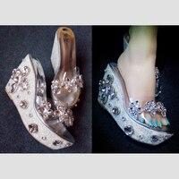 Transparent PVC Sandals Slope Women Sandals Open Toe Heavy Bottomed Bling Crystal Heels Women Wedges Sandals