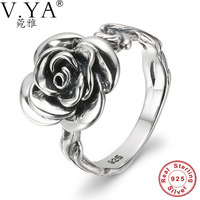 V Ya Real 925 Sterling Silver Rings Rose Flower Shape Fashion Radiant Elegance Finger Rings Bijoux