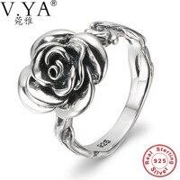 V. Ya Majątek 925 Sterling Silver Rings Rose Flower Shape Moda Elegancja Radiant Finger Pierścienie Ślubne Bijoux, Matki dzień Prezenty