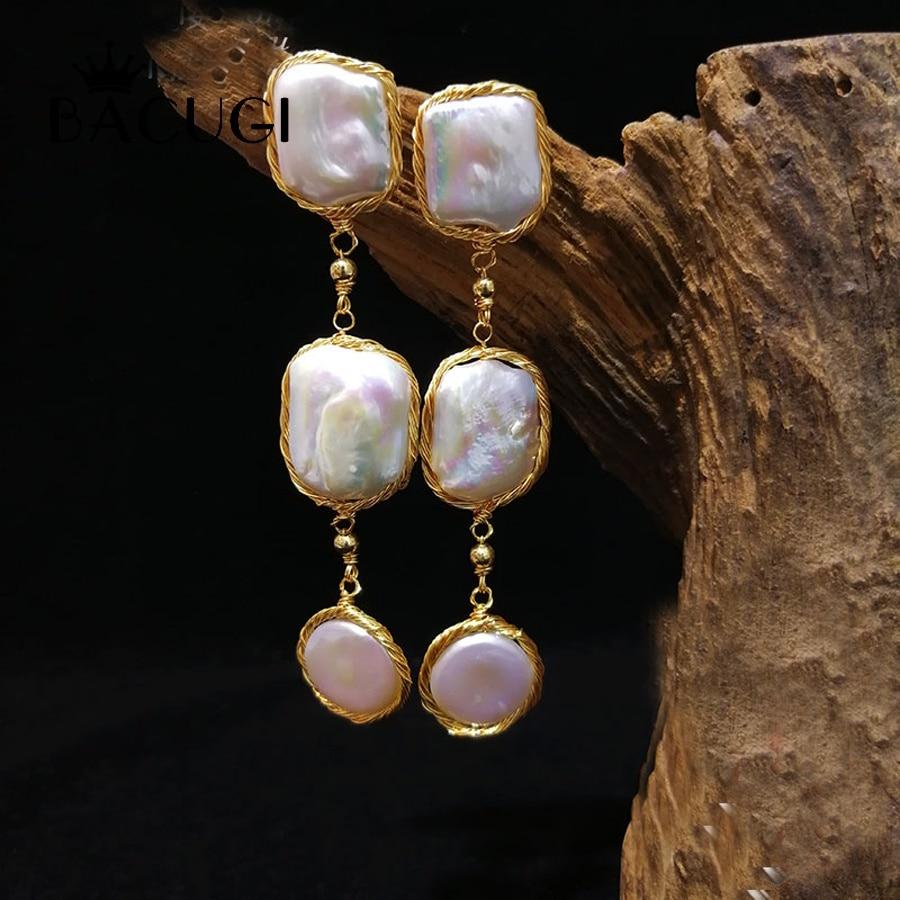 14kgf Lange Perle Ohrringe Edlen Schmuck Große Natürliche Barocke Perle Ohrringe Für Frauen Mode Geschenk Für Party Modischer (In) Stil;