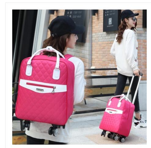 Bagaj ve Çantalar'ten Seyahat Çantaları'de Tekerlekli çanta seyahat Kadınlar için seyahat sırt çantası tekerlekler ile tekerlekli çantalar Oxford büyük kapasiteli Seyahat Haddeleme Bagaj Bavul Çantası'da  Grup 1